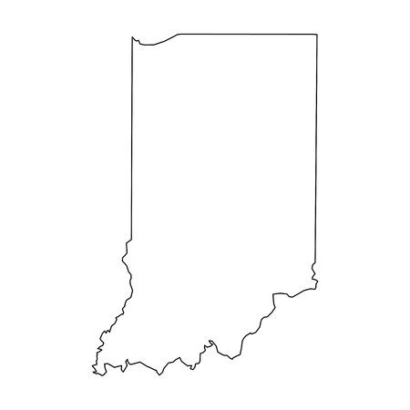 Indiana, state of USA - solid black outline map of country area. Simple flat vector illustration.