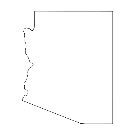 Arizona, state of USA - solid black outline map of country area. Simple flat vector illustration.