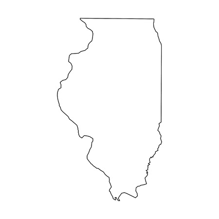 Illinois, state of USA - solid black outline map of country area. Simple flat vector illustration. Ilustração