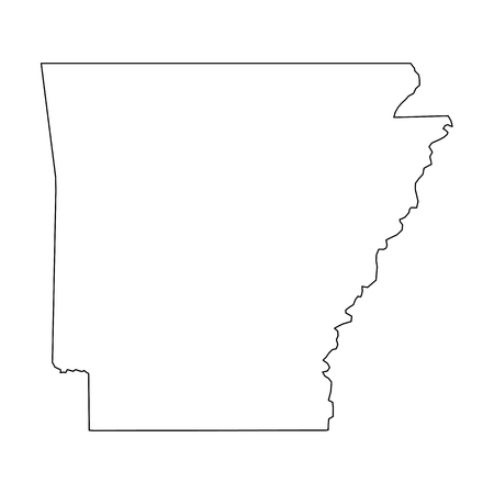 Arkansas, state of USA - solid black outline map of country area. Simple flat vector illustration. 矢量图像
