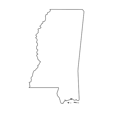 Mississippi, state of USA - solid black outline map of country area. Simple flat vector illustration. 일러스트