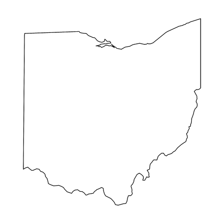 Ohio, state of USA - solid black outline map of country area. Simple flat vector illustration. Vettoriali