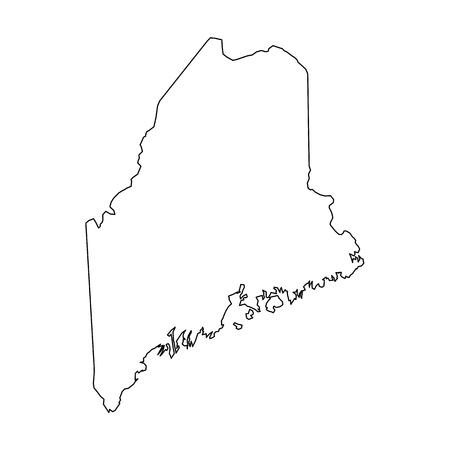 Maine, stato degli Stati Uniti - mappa di contorno nero solido dell'area del paese. Semplice illustrazione vettoriale piatto.
