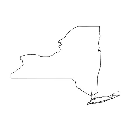 New York, state of USA - solid black outline map of country area. Simple flat vector illustration.