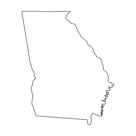 Georgia, state of USA - solid black outline map of country area. Simple flat vector illustration.
