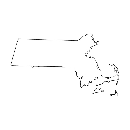 Massachusetts, state of USA - solid black outline map of country area. Simple flat vector illustration.