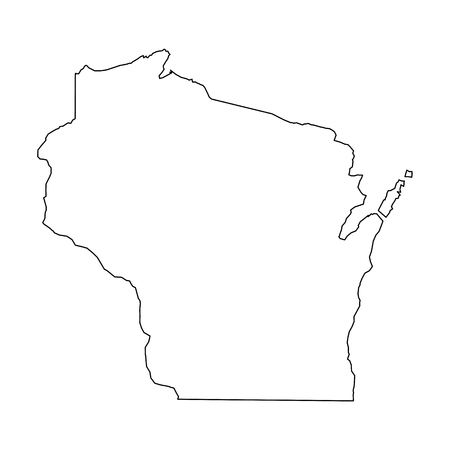 Wisconsin, state of USA - solid black outline map of country area. Simple flat vector illustration.