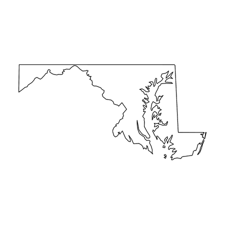 Maryland, state of USA - solid black outline map of country area. Simple flat vector illustration.