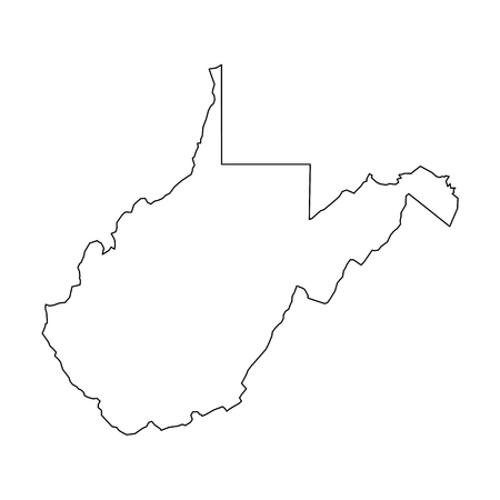 West Virginia, state of USA - solid black outline map of country area. Simple flat vector illustration.