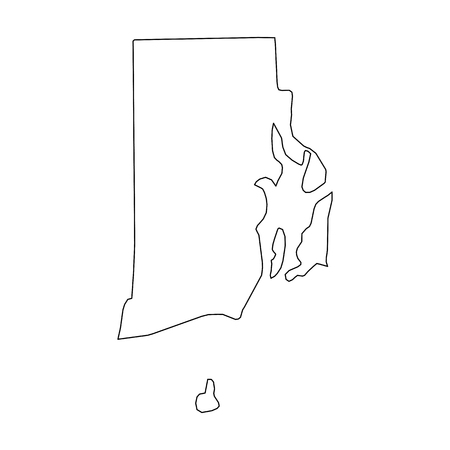 Rhode Island, state of USA - solid black outline map of country area. Simple flat vector illustration. Stock Illustratie