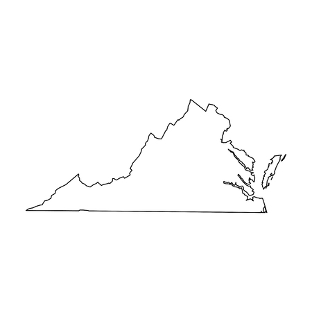 Virginia, state of USA - solid black outline map of country area. Simple flat vector illustration. 矢量图像