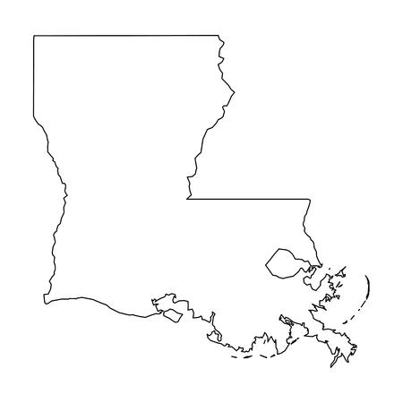 Louisiane, état des États-Unis - carte de contour noir solide de la région du pays. Illustration vectorielle plane simple. Vecteurs