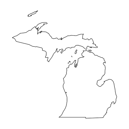 Michigan, state of USA - solid black outline map of country area. Simple flat vector illustration. 矢量图像