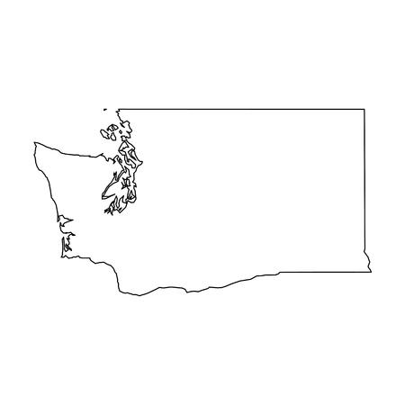 Washington, estado de Estados Unidos - mapa de contorno negro sólido del área del país. Ilustración de vector plano simple. Ilustración de vector