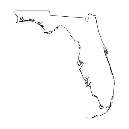 Floride, État des États-Unis - carte de contour noir solide de la région du pays. Illustration vectorielle plane simple.