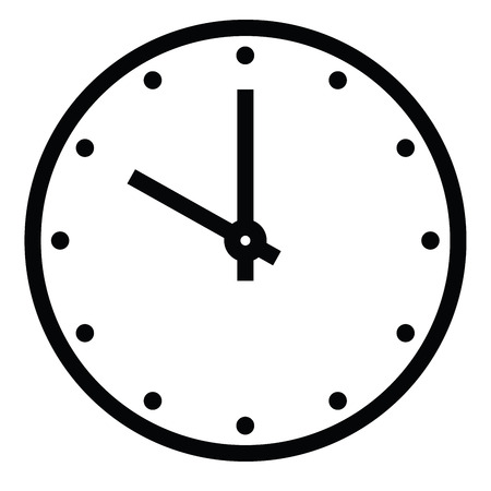 Clock face. Blank hour dial with hour and minute hand. Dots mark hours. Simple flat vector illustration.