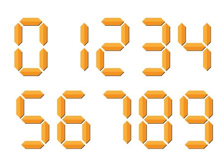 Números digitales naranjas similares a 3D. La pantalla de siete segmentos se utiliza en calculadoras, relojes digitales o medidores electrónicos. Ilustración vectorial.