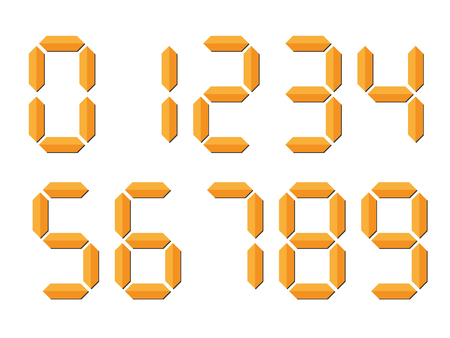 Orange 3D-like digital numbers. Seven-segment display is used in calculators, digital clocks or electronic meters. Vector illustration.