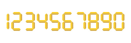 Yellow 3D-like digital numbers. Seven-segment display is used in calculators, digital clocks or electronic meters. Vector illustration.  イラスト・ベクター素材