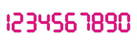 Pink 3D-like digital numbers. Seven-segment display is used in calculators, digital clocks or electronic meters. Vector illustration.