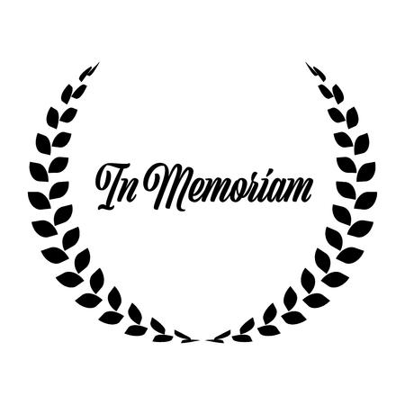 Corona funebre con etichetta In Memoriam. Riposa in pace. Semplice illustrazione piatta nera.