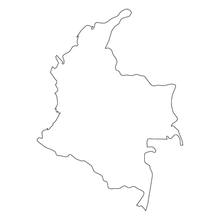 Colombia - solid black outline border map of country area. Simple flat vector illustration. Illustration
