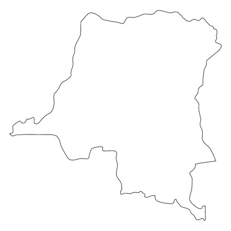 Democratic Republic of the Congo - solid black outline border map of country area. Simple flat vector illustration.
