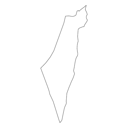 Israel - solid black outline border map of country area. Simple flat vector illustration. Stock Illustratie