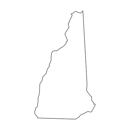 New Hampshire, state of USA - solid black outline map of country area. Simple flat vector illustration.