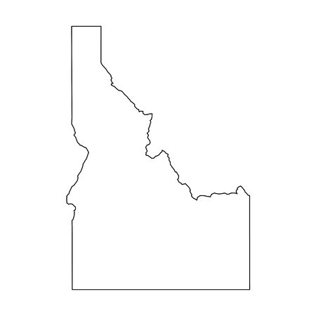 Idaho, state of USA - solid black outline map of country area. Simple flat vector illustration.