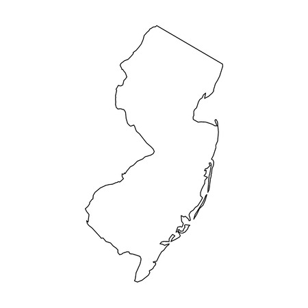 New Jersey, state of USA - solid black outline map of country area. Simple flat vector illustration.