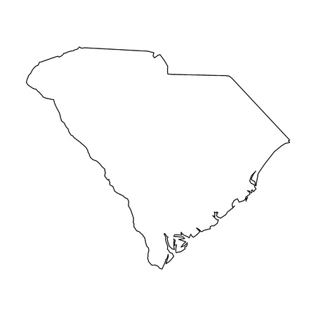 South Carolina, state of USA - solid black outline map of country area. Simple flat vector illustration. Ilustração
