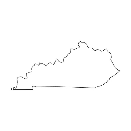 Kentucky, state of USA - solid black outline map of country area. Simple flat vector illustration. 向量圖像