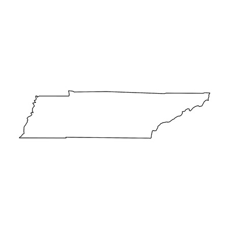 Tennessee, state of USA - solid black outline map of country area. Simple flat vector illustration. 向量圖像