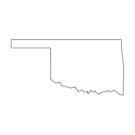 Oklahoma, state of USA - solid black outline map of country area. Simple flat vector illustration. Çizim
