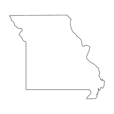 Missouri, state of USA - solid black outline map of country area. Simple flat vector illustration. 矢量图像