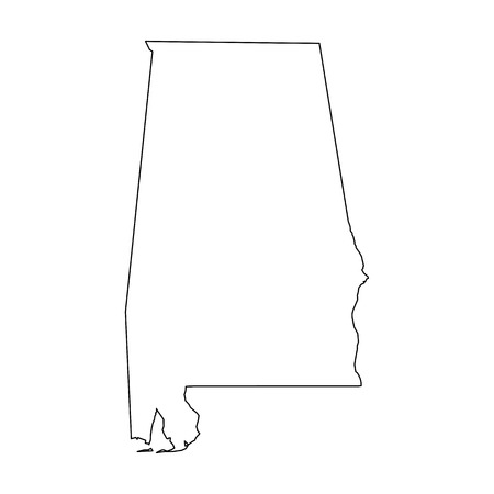 Alabama, state of USA - solid black outline map of country area. Simple flat vector illustration. 向量圖像