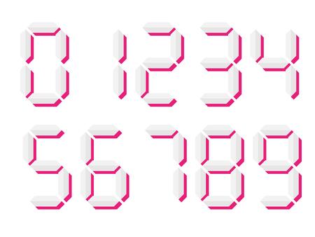 Grey 3D-like digital numbers. Seven-segment display is used in calculators, digital clocks or electronic meters. Vector illustration.  イラスト・ベクター素材