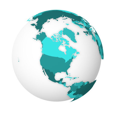 Blank political map of North America. 3D Earth globe with turquoise blue map. Vector illustration. Ilustracja