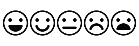 Basic emoticons set. Five facial expression of feedback - from positive to negative. Simple black outline vector icons.