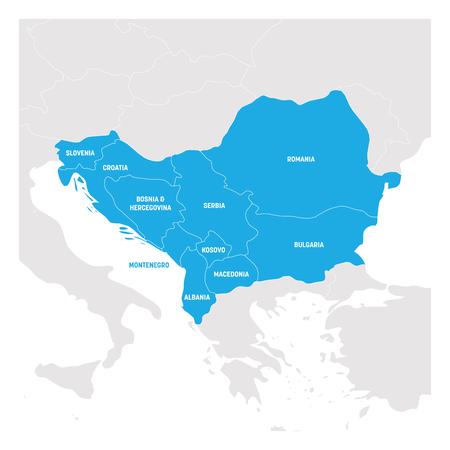 Southeast Europe Region. Map of countries of Balkan Peninsula. Vector illustration. Vector Illustration