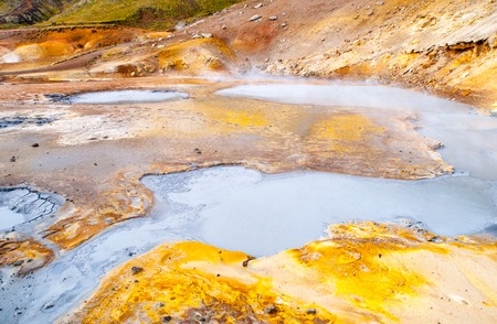 Vivid multicolored land in geothermal area Seltun near Krysuvik, Iceland.