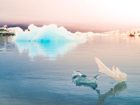 Blue icebergs in Jokulsarlon Glacier Lagoon, Iceland.