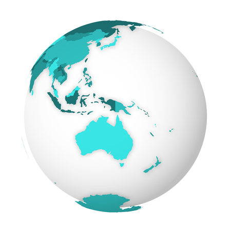 Blank political map of Australia. 3D Earth globe with turquoise blue map. Vector illustration. Ilustracja