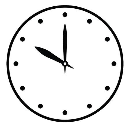 La cara del reloj. Esfera de hora en blanco con manecilla de hora y minuto. Los puntos marcan las horas. Ilustración de vector plano simple.