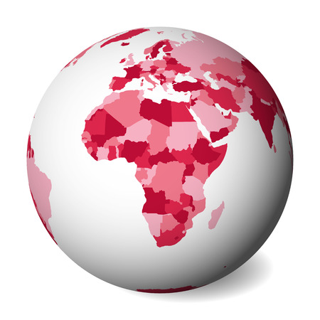 Blank political map of Africa. 3D Earth globe with pink map. Vector illustration.