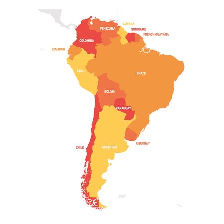 Región de América del Sur. Mapa de países del sur de América. Ilustración de vector.