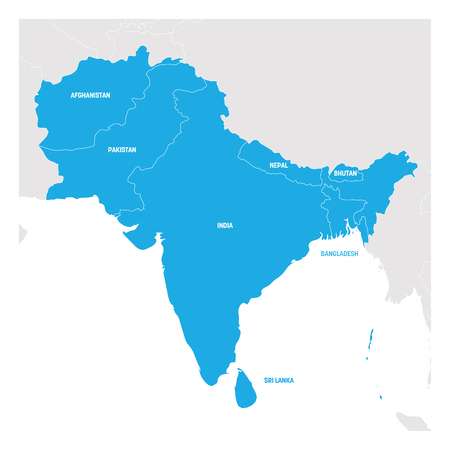South Asia Region. Map of countries in southern Asia. Vector illustration. Illustration