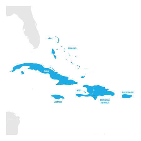 Caribbean Region. Map of countries in Caribbean Sea in Central America. Vector illustration.