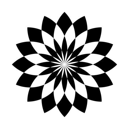 Lotus plant symbol. Spa and wellness theme design element. Flat black vector illustration.